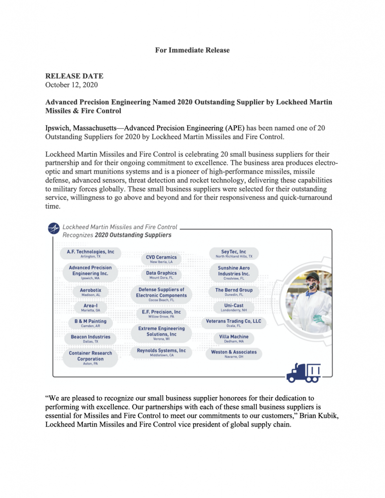 Lockheed Martin Names Ape 10 Top Supplier